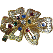 Vintage Dazzling Flower Crystal Pin/Brooch Signed