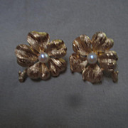 "Fabulous ""Francois""  Cultured Pearl Four Leaf Clover Signed Earrings"