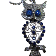 Stunning Vintage Articulated Owl Blue Crystal Pendant on Chain