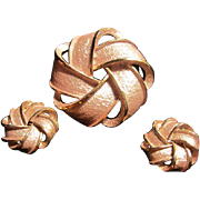 Madmen Mid Century  Pink Pearlized Enameled Pin & Earrings Set