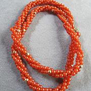 "Trifari Vintage Triple Strand Carnelian Lucite  24"" Necklace"