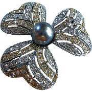 Beautiful Gold/Silver with large glass Black Pearl & Austrian Crystals Vintage Brooch Pin