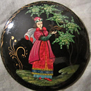 Exquisite Signed Hand Painted Princess Vintage Lacquer Brooch Pin