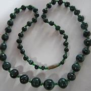 "Beautiful Hand Cut Genuine Malachite Bead Necklace 23"""