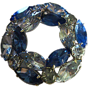 Stunning Vintage Blues Austrian Crystals Classic Circle Pin