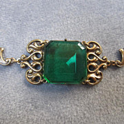 "Sadie Green signed Fabulous ""Emerald"" Green Vintage Bracelet"