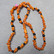 Lovely Genuine Baltic Honey Amber & Onyx Beads Necklace