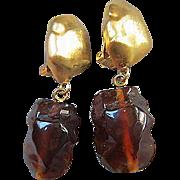 Runway Bold Amber Lucite Drop Vintage Earrings