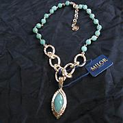 Genuine Faceted Green Aventurine Gorgeous Designer Vintage Necklace Milor Vermeil Gold over Sterling 925
