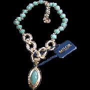 Genuine Faceted Green Aventurine Gorgeous Designer Necklace Milor Gold over Sterling 925