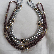 Fabulous Vintage Set of Gray faux Pearls & Amethyst Necklaces