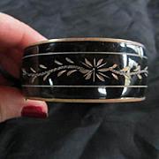 Victorian Mourning Jewelry Enamel Engraved Bangle Bracelet