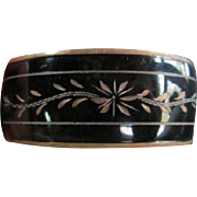 Victorian Mourning Jewelry Enamel Engraved Bangle Bracelet