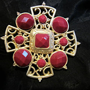Unusual Maltese Cross Faceted Cranberry  & Matte Gold plated Vintage Brooch Pin