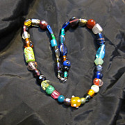 Vintage Art Glass Trade Bead Necklace