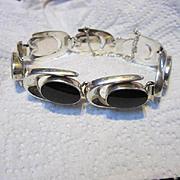 Modernist Onyx Sterling Silver 925 Makers Marks Vintage Bracelet