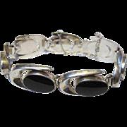 Vintage Modernist Onyx Sterling Silver Bracelet Makers Marks
