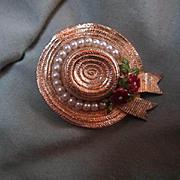 "CINER signed ""My Fair Lady"" Straw Hat  Enameled Vintage Brooch Pin"