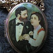 "Vintage Portrait Locket on 24"" Chain"