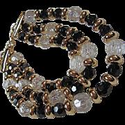 Givenchy Triple Strand Black White Lucite Designer Signed Vintage Necklace