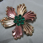 Fabulous Art Deco ISKIN signed Rose & Yellow Gold Vintage Brooch Pin