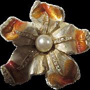 Exquisite Signed Art Enamel Crystal Flower Vintage Brooch Pin
