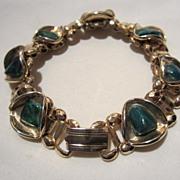 Art Deco Set Bookchain Bracelet with Triangular links of Malachite Matching Ring Vintage Set Bracelet Ring