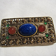 Stunning Vintage Jeweled Glass Brooch Pin  Quality piece