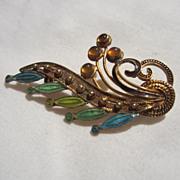 Beautiful  Sterling Vermeil & Enamel  Amber Stones Vintage Brooch Pin