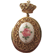 Gorgeous CORO Guilloche Rose Locket Vintage Brooch Pin