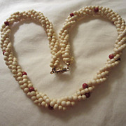 """Coral & Bone 4 strands Twisted 20"""" Necklace"""