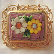 Lovely  Mosaic Pin Filagree Frame Italy Vintage Brooch Pin
