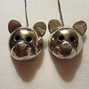 Adorable Sterling Silver Teddy Bear Vintage Bib Clips  or Sweater Guards