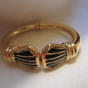 Great Vintage Enamel Tubular Clamper Bracelet