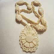 Beautifully  Artistically  Hand Carved Vintage Bone Necklace