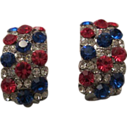 Gorgeous Red White and Blue Swarovski Crystal Earrings Patriotic