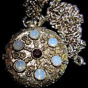 Classic Vintage Victorian Revival Moonstone faux Watch Fob Pendant Necklace