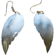 Beautiful Vintage Mother Of Pearl Curved Leaf Earrings Hand Carved