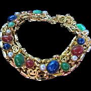 Gorgeous Vibrant Colors (faux) Lapis, Jade, Pearl, Emerald Bracelet