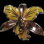 Beautiful Enamel Orchid Flower Pin