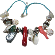 Fun Necklace with Coral, Quartz, Shells Down by the Sea