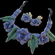 Gorgeous Violet Flower Necklace & Earrings Set Artisan Piece