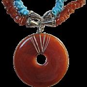 Fabulous Vintage Lucite Disc Turquoise Carnelian (faux) Necklace