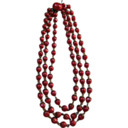 Raspberry Triple Strand Capped Beaded Necklace
