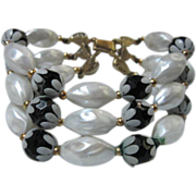 Deauville Demi Set Stunning Black and White Triple Bracelet & Matching Earrings Demi Set signed