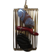 One of a Kind Exceptional Coral & Agate Modernist Vintage Hand made Pendant One of a Kind