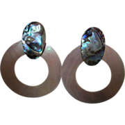 Gorgeous Abalone Mother of Pearl Door Knocker Earrings