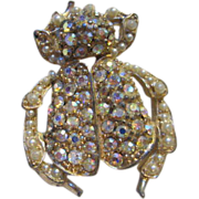 Unique Vintage AB Jeweled Bug Figural Pin