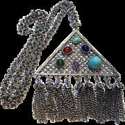 Unique Triangular Pendant faux Gemstones & Fringes