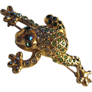 Wonderful Signed Frog Green Crystal Encrusted Figural Pin